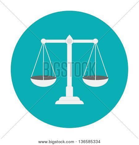 Libra flat icon. Justice symbol. Scale icon