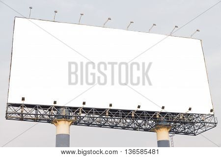 Blank billboard at blue sky background mock up