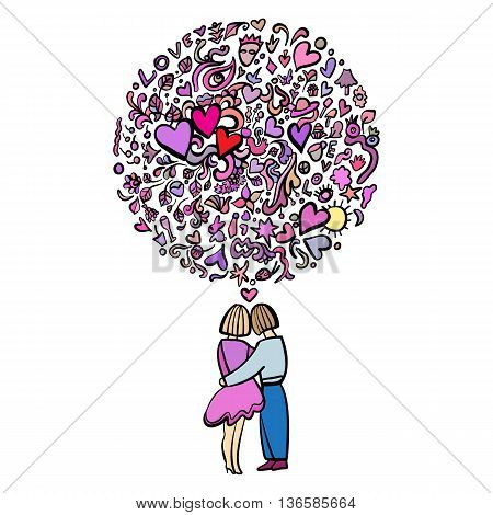 Hand-Drawn Abstract Illustration Doodle of Loving Couple