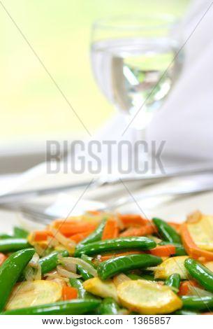 Plate Of Healthy Vegetable Stir Fry.