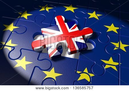 3d illustration Brexit Symbol of the Referendum EU vs UK