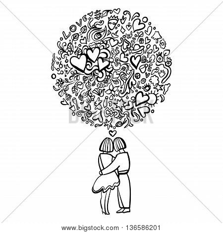Hand-Drawn Abstract Black and White Illustration of Loving Couple