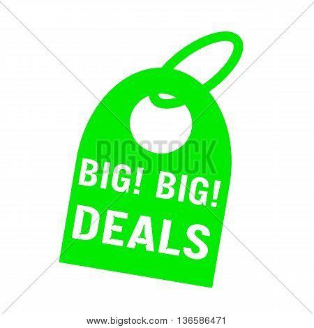 big deals white wording on background green key chain