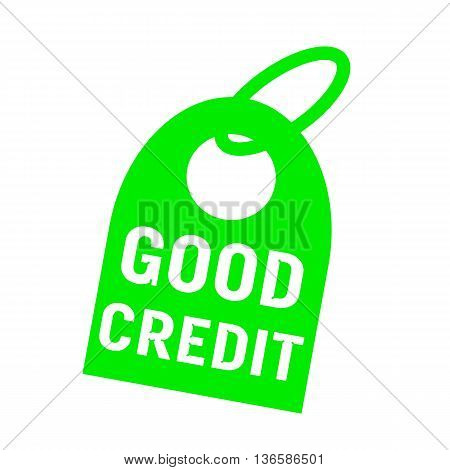 good credit white wording on background green key chain