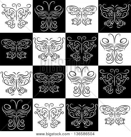 The seamless pattern with a butterflies staggered
