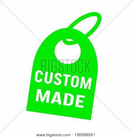 custom made white wording on background green key chain