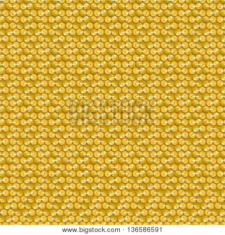Gold shiny sequins with stitching seamless pattern .