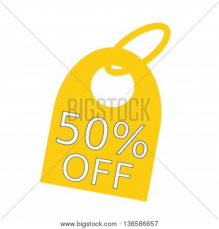 50% OFF white wording on background yellow key chain