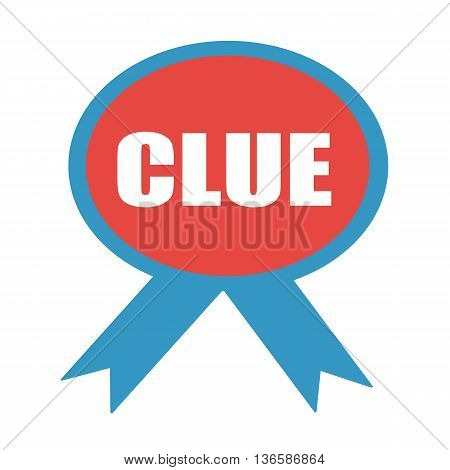 Clue white wording on background red ribbon