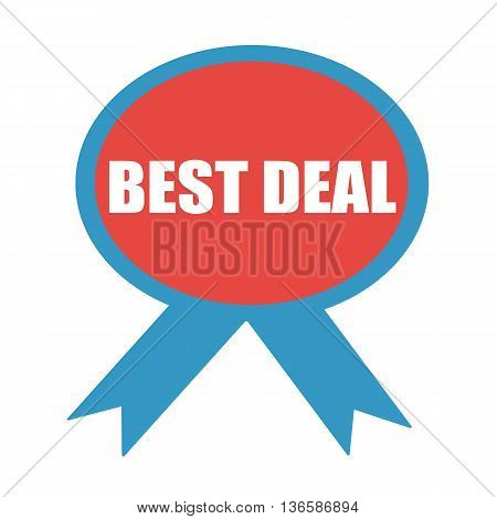 BEST DEAL white wording on background red ribbon