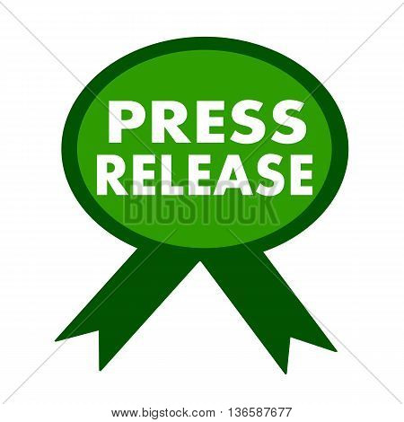 press release white wording on background green ribbon