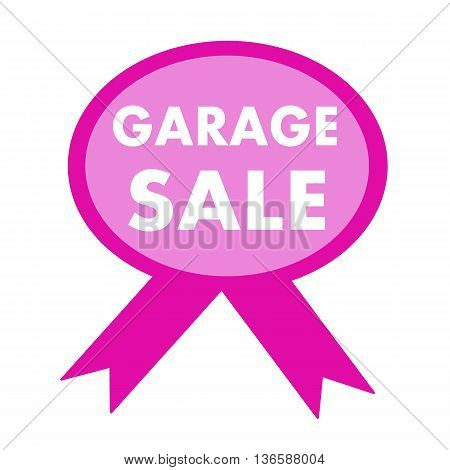 garage sale white wording on background pink ribbon