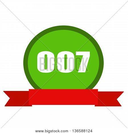 007 white wording on Circle green background ribbon red
