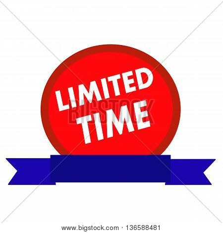 Limited time white wording on Circle red background ribbon blue