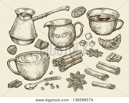 Food, tea, coffee. Hand-drawn cup, cinnamon, anise, creamer, teaspoon croissant sugar beans chocolate candy turk Sketch vector illustration