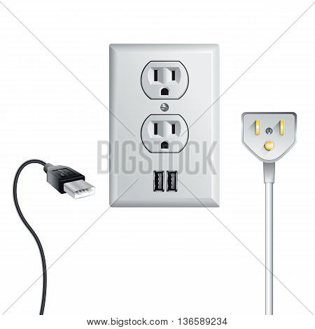 Electrical outlet in the USA power socket with USB