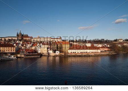 The Skyline of Prag castle with moldau