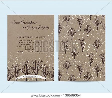 winter wedding invitation set on kraft decorated with trees
