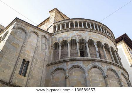 Exterior of the apse of Santa Maria della Pieve in Arezzo Italy