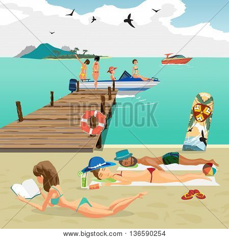 Sea landscape summer beach. Man and woman sunbathing lying on the sand the girls sit in a motor boat from the pier. Vector flat cartoon illustration.