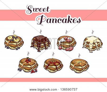 Set of various sweet pancakes. Can be used for design of menu, banners, brochures for cafe, bakery or restaurant or recipe books. Vector illustration.