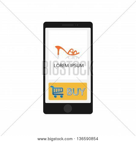 Smartphone with store app, elegant design. Clean and modern style. Vector illustration. EPS10