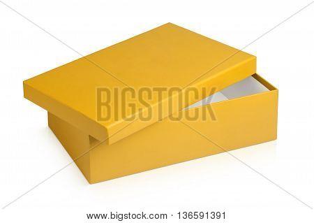 Half opened shoe box isolated on a white background.