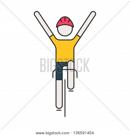 Modern Illustration of cyclist. Flat bicyclist in yellow jersey isolated on white background. Healthy lifestyle, or bicycle race logo concept. Bicycle racer made in trendy thin line style vector.