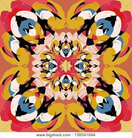 Hand drawn lace mandalas ethnic seamless pattern