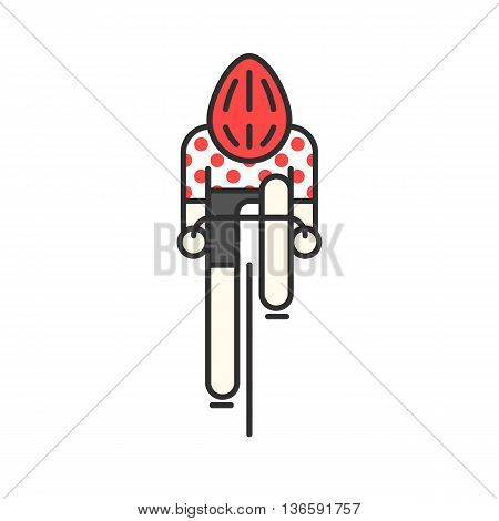 Modern Illustration of cyclist. Flat bicyclist in red polka dot jersey isolated on white background. Cycling race logo concept. Bicycle racer made in trendy thin line style vector.