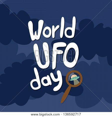 Poster for World UFO day. Vector Illustration.