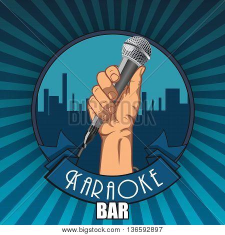 Karaoke bar. hand holding a microphone in a fist.