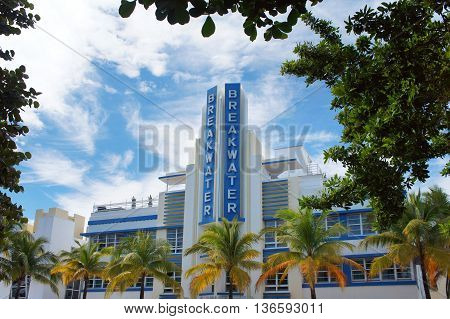 MIAMI BEACH, UNITED STATES - FEBRUARY 11: The facade of Breakwater hotel touristic attraction on the Ocean Drive street on 11th of February, 2016 in Miami Beach.