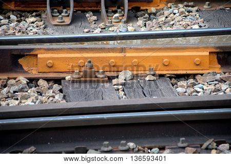 close up of a rails fastening system
