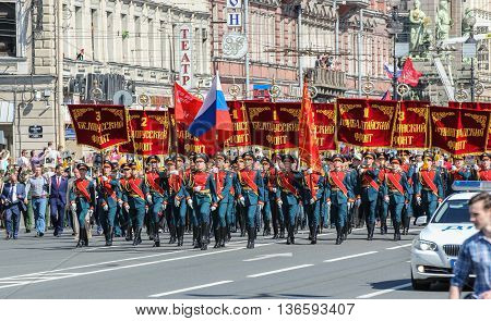 St. Petersburg, Russia - 9 May, Soldiers with flags and banners, 9 May, 2016. Holiday-action