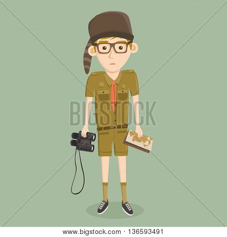 Cartoon little boy scout. Hat, binoculars and map. Young scout