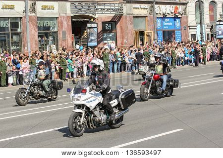 St. Petersburg, Russia - 9 May, Bikers and police, 9 May, 2016. Holiday-action