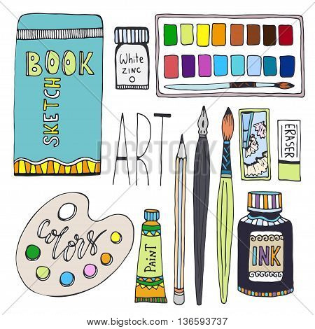 Art supplies for drawing. Cartoon vector set with paints palette sketchbook and other material