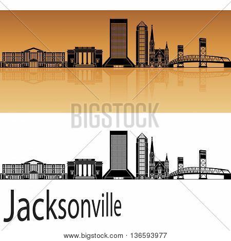 Jacksonville skyline in orange background in editable vector file
