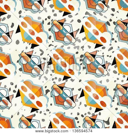 small objects colored geometric abstract seamless pattern