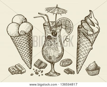 Food, dessert, drink. Hand-drawn vintage ice cream, sundae, chocolate, candy cocktail lemonade Sketch vector illustration