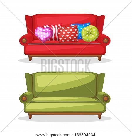 sofa soft colorful homemade, set 4 in vector