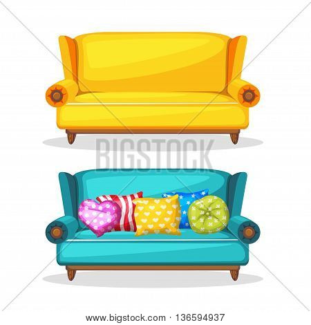 sofa soft colorful homemade, set 3 in vector