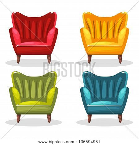 armchair soft colorful homemade, set 3 in vector