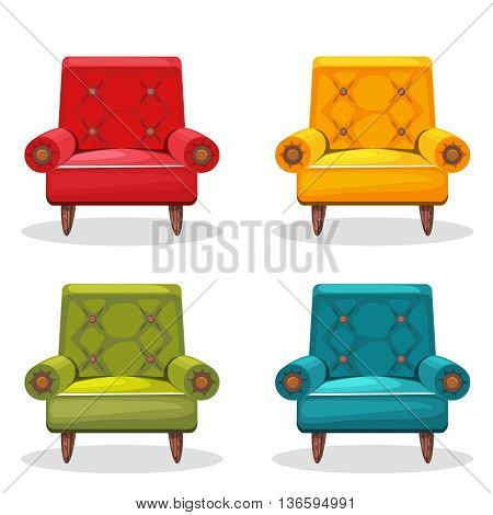armchair soft colorful homemade, set 4 in vector