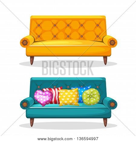 sofa soft colorful homemade, set 7 in vector