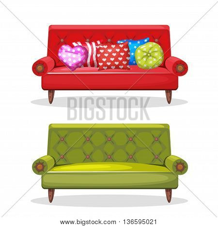 sofa soft colorful homemade, set 8 in vector