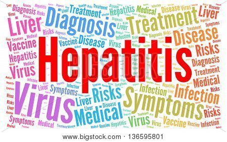 Hepatitis word cloud concept with a hite background