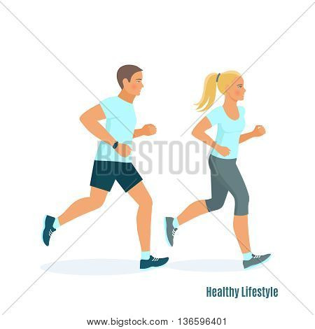 Running man and woman , fitness concept, fitness tracker. Vector illustration of running people in style flat