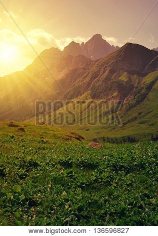 Beautiful mountain landscape at sunset, Dolomites - Italy
